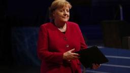 German Chancellor Angela Merkel arrives to speak at the opening of the Internet Governance Forum on November 26, 2019 in Berlin, Germany.