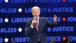 Democratic presidential candidate, former Vice President Joe Biden speaks at the Liberty and Justice Celebration at the Wells Fargo Arena on November 01, 2019 in Des Moines, Iowa.