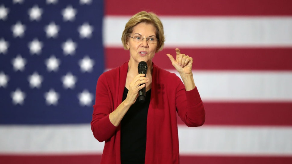 Democratic presidential candidate Sen. Elizabeth Warren (D-MA) speaks to guests during a campaign stop at Hempstead High School on November 02, 2019 in Dubuque, Iowa.