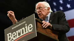 Democratic presidential candidate Bernie Sanders speaks to a large crowd at the University of Minnesota in Minneapolis, Sunday, November 3, 2019.