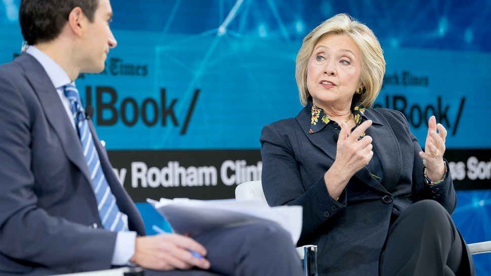 Andrew Ross Sorkin, Editor at Large, Columnist and Founder, DealBook, The New York Times speaks with Hillary Rodham Clinton, Former First Lady, U.S. Senator, U.S. Secretary of State onstage at 2019 New York Times Dealbook on November 06, 2019 in New York City. (Photo by Michael Cohen/Getty Images for The New York Times)