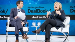 Andrew Ross Sorkin, Editor at Large, Columnist and Founder, DealBook, The New York Times speaks with Hillary Rodham Clinton, Former First Lady, U.S. Senator, U.S. Secretary of State onstage at 2019 New York Times Dealbook on November 06, 2019 in New York City.