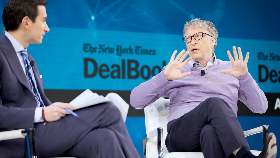 NEW YORK, NEW YORK - NOVEMBER 06: Andrew Ross Sorkin, Editor at Large, Columnist and Founder, DealBook, The New York Times speaks with Bill Gates, Co-Chair, Bill & Melinda Gates Foundation onstage at 2019 New York Times Dealbook on November 06, 2019 in New York City. (Photo by Michael Cohen/Getty Images for The New York Times)