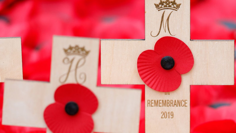 Remembrance crosses and poppies placed in the Field of Remembrance by Prince Harry, Duke of Sussex and Meghan, Duchess of Sussex (bearing their Royal Cyphers) at the 91st Field of Remembrance at Westminster Abbey on November 7, 2019 in London, England.