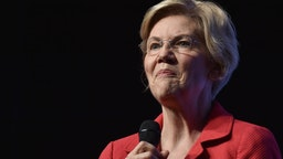 "Democratic presidential candidate, U.S. Sen. Elizabeth Warren (D-MA) speaks during the Nevada Democrats' ""First in the West"" event at Bellagio Resort & Casino on November 17, 2019 in Las Vegas, Nevada."