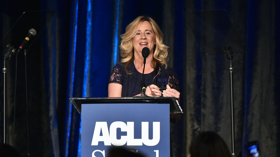 BEVERLY HILLS, CALIFORNIA - NOVEMBER 17: Dr. Christine Blasey Ford speaks onstage during ACLU SoCal's Annual Bill of Rights dinner at the Beverly Wilshire Four Seasons Hotel on November 17, 2019 in Beverly Hills, California. (Photo by Alberto E. Rodriguez/Getty Images)