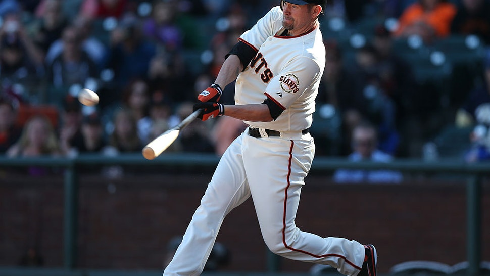Aubrey Huff #17 of the San Francisco Giants bats against the San Diego Padres during the game at AT&T Park on Sunday, September 23, 2012 in San Francisco, California.