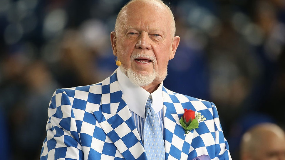 TORONTO, CANADA - APRIL 13: Hockey commentator Don Cherry does a television interview before the Tampa Bay Rays MLB game against the Toronto Blue Jays on April 13, 2015 at Rogers Centre in Toronto, Ontario, Canada.