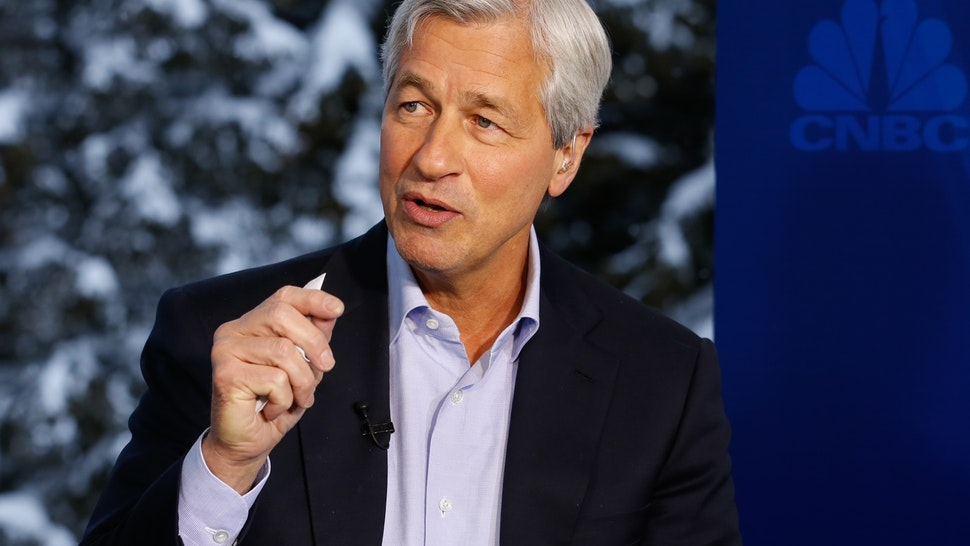 DAVOS 2016; World Economic Forum -- Pictured: Jamie Dimon, chairman, president and CEO of JP Morgan Chase, in an interview at the annual World Economic Forum in Davos, Switzerland, on January 20, 2016