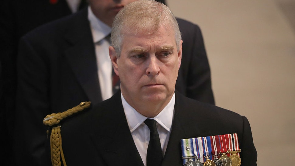 Prince Andrew, Duke of York, attends a commemoration service at Manchester Cathedral marking the 100th anniversary since the start of the Battle of the Somme. July 1, 2016 in Manchester, England.