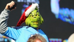 December 7, 2014: A Tennessee Titans fan is dressed as Dr. Suess' Grinch during game action.