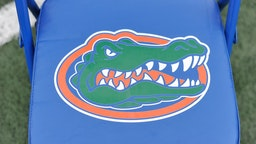 COLUMBIA, MO - NOVEMBER 4: A Florida Gators logo is seen on a chair during a game against the Missouri Tigers at Memorial Stadium on November 4, 2017 in Columbia, Missouri.