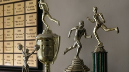 Track and field trophies on display at St. Bede Academy in Peru, Ill., Monday, Nov. 21, 2016. (Antonio Perez/Chicago Tribune/Tribune News Service via Getty Images)