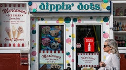 """A """"dippin' dots"""" ice cream shop is viewed in Cannery Row on April 10, 2018, in Monterey, California."""