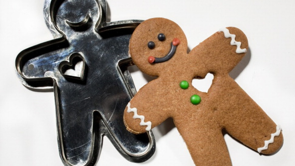 We are pressing cookie cutters in whimsical shapes, old-fashioned simple shapes, and once-a-year shapes into soft buttery dough. Here, gingerbread man with heart from Hammersong/LaCuisine.