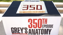 "GREY'S ANATOMY - The stars and executive producers of ABC's ""Grey's Anatomy"" along with President of ABC Entertainment, Karey Burke, celebrate the taping of the 350th episode with a cake-cutting ceremony in Los Angeles on Tuesday, October 15, 2019. The episode will air later this season. ""Grey's Anatomy"" airs Thursdays at 8:00pm ET