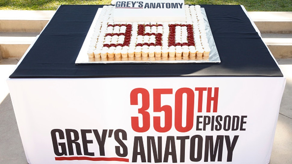 """GREY'S ANATOMY - The stars and executive producers of ABC's """"Grey's Anatomy"""" along with President of ABC Entertainment, Karey Burke, celebrate the taping of the 350th episode with a cake-cutting ceremony in Los Angeles on Tuesday, October 15, 2019. The episode will air later this season. """"Grey's Anatomy"""" airs Thursdays at 8:00pm ET