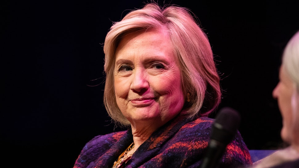Hillary Clinton (left) talking to Mary Beard at the Southbank Centre in London at the launch of Gutsy Women: Favourite Stories of Courage and Resilience a book by Chelsea Clinton and Hillary Clinton about women who have inspired them. PA Photo. Picture date: Sunday November 10, 2019.