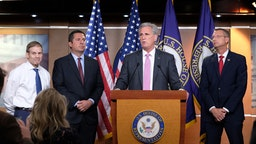 WASHINGTON, DC - JULY 24: U.S. Rep. Kevin McCarthy (R-CA), speaks at a press conference while Reps. Jim Jordan (R-OH), Devin Nunes (R-CA), and Doug Collins (R-GA), listen at a news conference on July 24, 2019 in Washington, DC. The conference addressed former Special Counsel Robert Muellers testimony before the House Judiciary Committee that took place earlier in the day.