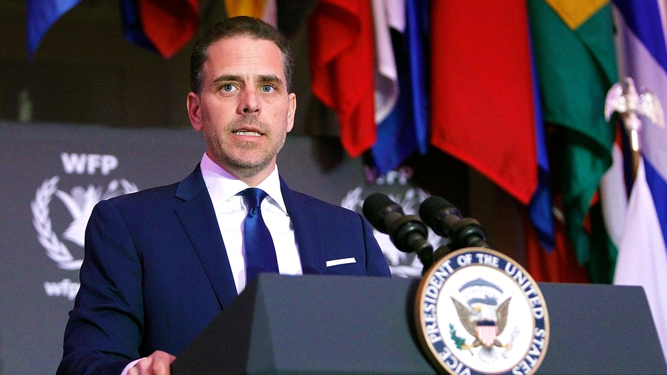 WASHINGTON, DC - APRIL 12: World Food Program USA Board Chairman Hunter Biden speaks at the World Food Program USA's Annual McGovern-Dole Leadership Award Ceremony at Organization of American States on April 12, 2016 in Washington, DC.