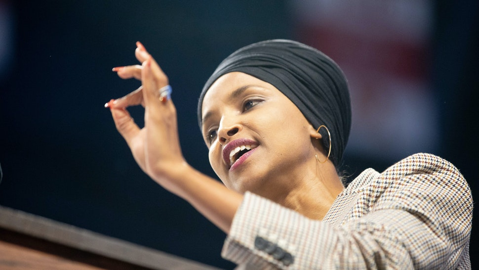Representative Ilhan Omar Democrat of Minnesota speaks during a campaign Rally in Minneapolis, Minnesota, November 3, 2019.