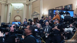 WASHINGTON, DC - NOVEMBER 13: Media members gather as State Department deputy assistant secretary, George Kent and acting U.S. ambassador to Ukraine, William B. Taylor appear for a House Intelligence Committee impeachment hearing in the Longworth House Office Building on Wednesday November 13, 2019 in Washington, DC.