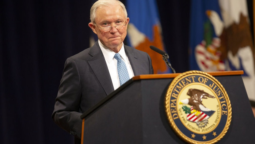Jeff Sessions speaks during a farewell ceremony for Rod Rosenstein
