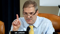 WASHINGTON, DC - NOVEMBER 13: Rep. Jim Jordan (R-OH) questions top U.S. diplomat in Ukraine William B. Taylor Jr. during the first public hearings held by the House Permanent Select Committee on Intelligence as part of the impeachment inquiry into U.S. President Donald Trump on Capitol Hill November 13, 2019 in Washington, DC. In the first public impeachment hearings in more than two decades, House Democrats are trying to build a case that President Donald Trump committed extortion, bribery or coercion by trying to enlist Ukraine to investigate his political rival in exchange for military aide and a White House meeting that Ukraine President Volodymyr Zelensky sought with Trump.