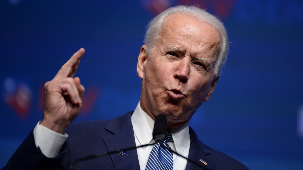 "Democratic presidential hopeful former Vice President Joe Biden speaks on stage at ""First in the West"" event in Las Vegas, Nevada on November 17, 2019."