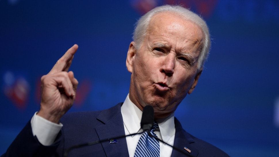 """Democratic presidential hopeful former Vice President Joe Biden speaks on stage at """"First in the West"""" event in Las Vegas, Nevada on November 17, 2019."""