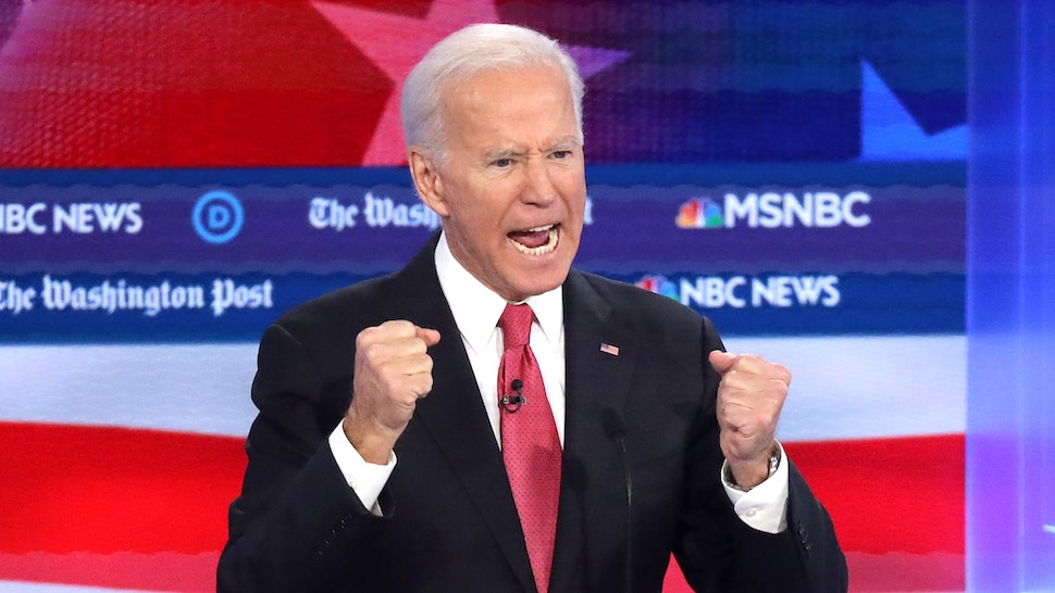 Former Vice President Joe Biden speaks during the Democratic Presidential Debate at Tyler Perry Studios November 20, 2019 in Atlanta, Georgia. Ten Democratic presidential hopefuls were chosen from the larger field of candidates to participate in the debate hosted by MSNBC and The Washington Post.