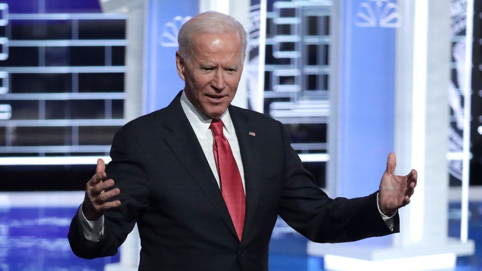 Former Vice President Joe Biden greets the audience after the Democratic Presidential Debate at Tyler Perry Studios November 20, 2019 in Atlanta, Georgia. Ten Democratic presidential hopefuls were chosen from the larger field of candidates to participate in the debate hosted by MSNBC and The Washington Post. (Photo by Alex Wong/Getty Images)