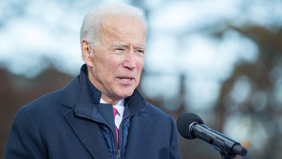 Joe Biden speaks during a rally after he signed his official paperwork for the New Hampshire Primary