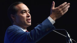 "Julian Castro speaks during the Nevada Democrats' ""First in the West"" event"