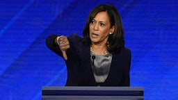 Democratic presidential hopeful California Senator Kamala Harris gives a thumbs down as she speaks during the third Democratic primary debate of the 2020 presidential campaign season hosted by ABC News in partnership with Univision at Texas Southern University in Houston, Texas on September 12, 2019.
