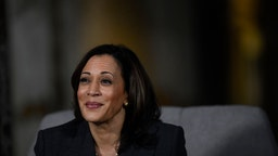 Kamala Harris speaks during a town hall at the Eastern State Penitentiary