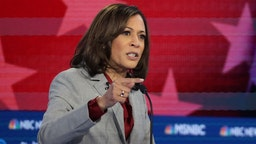 Kamala Harris speaks during the Democratic Presidential Debate