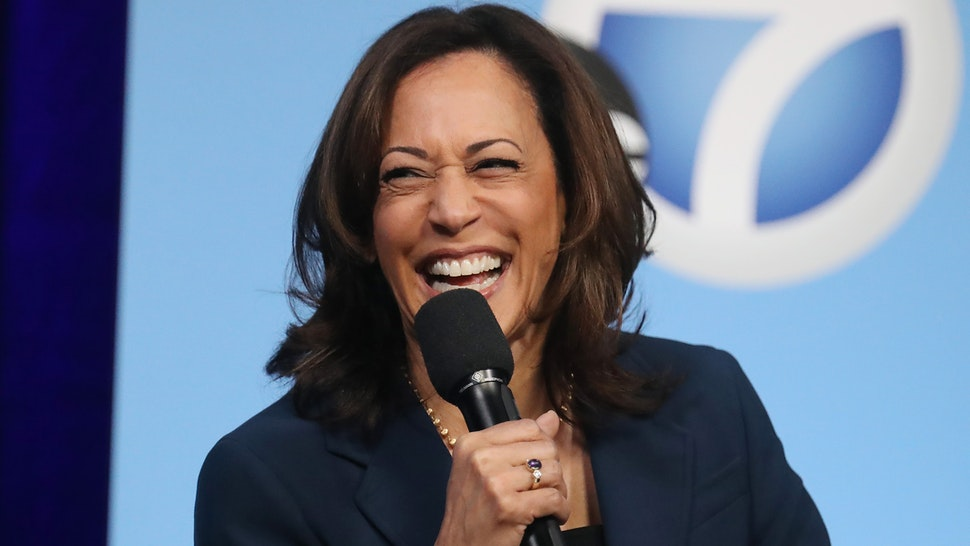 Democratic presidential candidate Sen. Kamala Harris (D-CA) laughs at a Democratic presidential forum on Latino issues at Cal State L.A. on November 17, 2019 in Los Angeles, California. The presidential primary in California will be held on March 3, 2020.