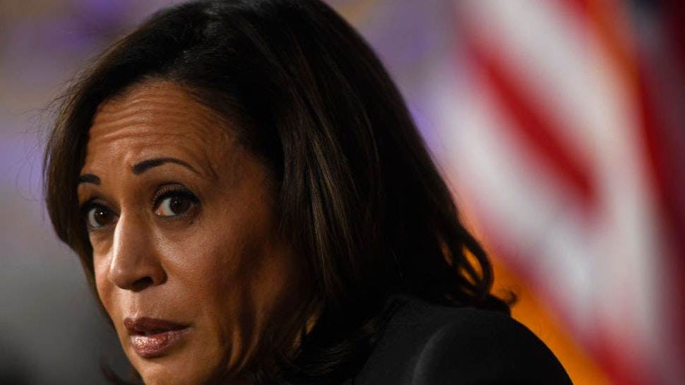 PHILADELPHIA, PA - OCTOBER 28: U.S. Democratic Presidential candidate, U.S. Senator Kamala Harris (D-CA) speaks during a town hall at the Eastern State Penitentiary on October 28, 2019 in Philadelphia, Pennsylvania. Formerly incarcerated individuals, their families, and others involved with the criminal justice system hosted the town hall with three 2020 Democratic presidential candidates.