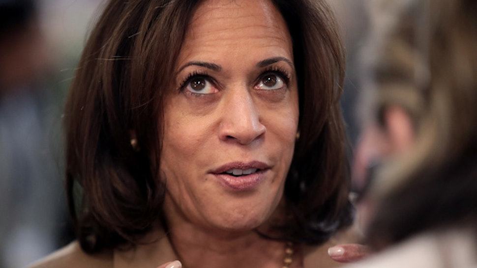 CEDAR RAPIDS, IOWA - NOVEMBER 02: Democratic presidential candidate Sen. Kamala Harris (D-CA) greets guests as she arrives at the Finkenauer Fish Fry at the Hawkeye Downs Event Center on November 02, 2019 in Cedar Rapids, Iowa. The 2020 Iowa Democratic caucuses will take place on February 3, 2020, making it the first nominating contest for the Democratic Party in choosing their presidential candidate.