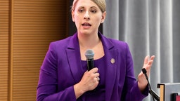 Katie Hill speaking at the Ignite Young Women Run D.C. Conference in Washington, DC.
