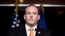Lee Zeldin speaks during the press conference calling on President Trump to declassify the Carter Page FISA applications