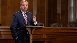 Lindsey Graham speaks at a news conference proposing legislation to address the crisis at the southern border