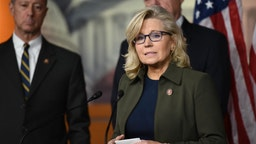 Liz Cheney speaks speaks during a news conference at the U.S. Capitol