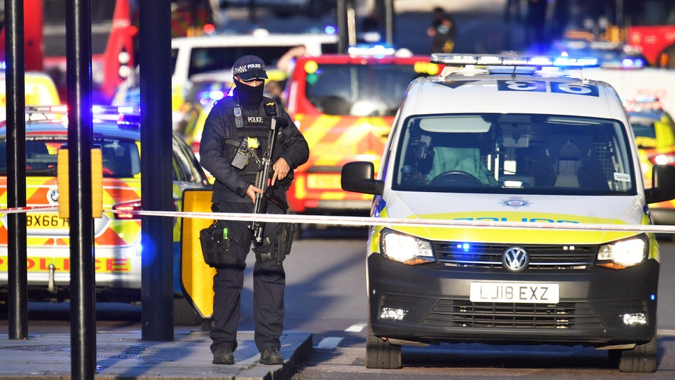 Armed police at the scene of an incident on London Bridge in central London.
