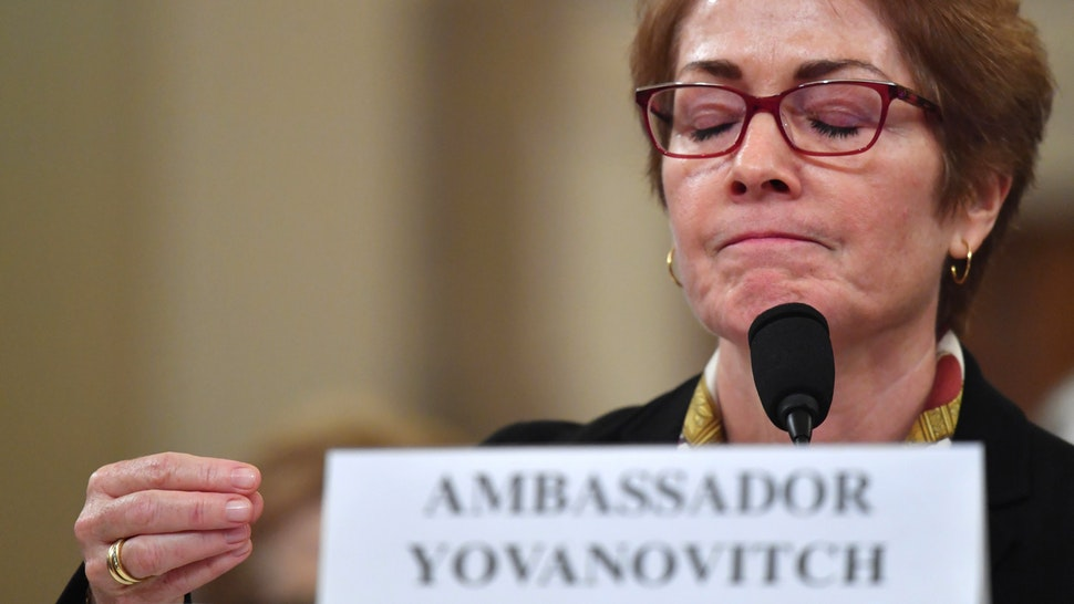 Former US Ambassador to the Ukraine Marie Yovanovitch testifies before the House Permanent Select Committee on Intelligence as part of the impeachment inquiry into US President Donald Trump, on Capitol Hill on November 15, 2019 in Washington DC. - Public impeachment hearings resume Friday with the testimony of former ambassador to Ukraine Marie Yovanovitch, who says she was ousted because the Trump administration believed she would not go along with plans to pressure Ukraine to investigate Democrat Joe Biden, a potential Trump White House rival in 2020.