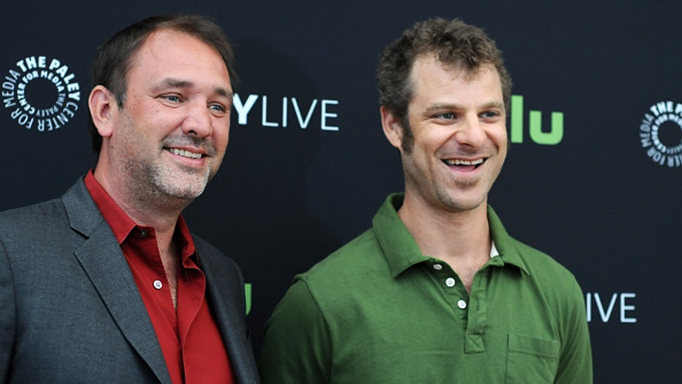 "BEVERLY HILLS, CA - SEPTEMBER 01: Trey Parker and Matt Stone attend the The Paley Center for Media presents a special retrospective event honoring 20 seasons of ""South Park"" at The Paley Center for Media on September 1, 2016 in Beverly Hills, California."