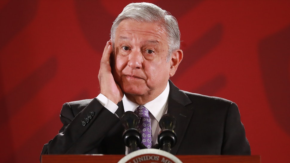 President of Mexico Andres Manuel Lopez Obrador gestures during the Presidential Daily Morning Briefing on November 13, 2019 in Mexico City, Mexico. Lopez Obrador gave details about the asylum granted to Former President of Bolivia Evo Morales Ayma after Mexican government acknowledged a coup and demanded respect for the constitution and democracy in Bolivia.