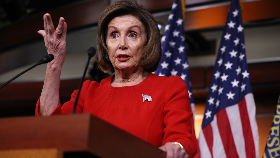 Speaker of the House Nancy Pelosi (D-CA) holds her weekly news conference in the House Visitors Center at the U.S. Capitol November 14, 2019 in Washington, DC. Pelosi faced questions from reporters as public hearings in the impeachment inquiry of President Donald Trump began this week.