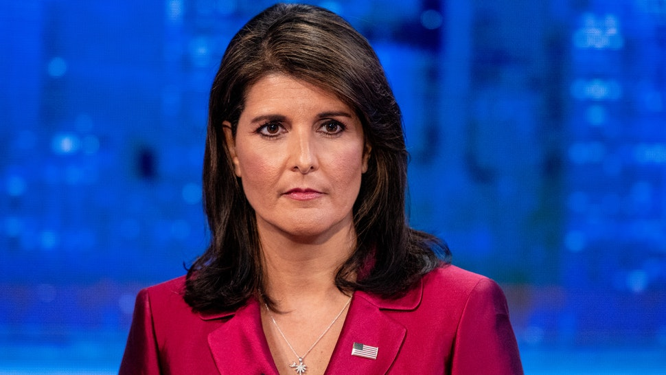 """NEW YORK, NY - SEPTEMBER 20: United States Ambassador to the United Nations Nikki Haley visits """"The Story"""" With Martha MacCallum prior to the U.N. General Assembly at Fox News Channel Studios on September 20, 2018 in New York City."""